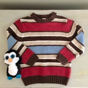 Boys Striped Sweater Brown Blue & Red  Gymboree 4